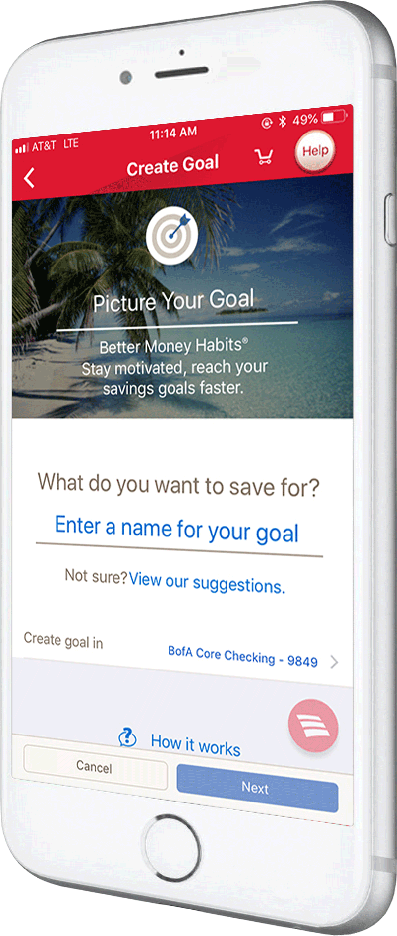 Image of a phone displaying the Goals tool.