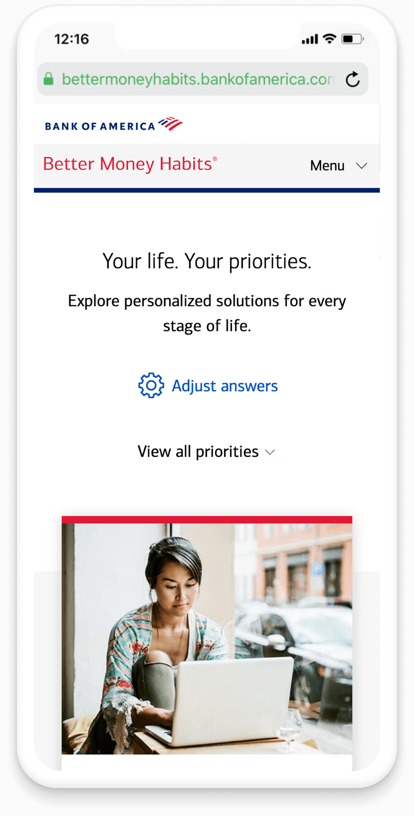 BMH life priorities widget results page